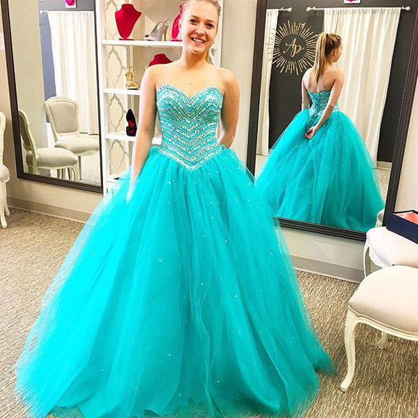 Prom Dress,Aqua Prom Dress, Prom Gown, Quinceanera Dress,Heavy Beaded Prom  Dress,Long Prom Dress,Prom Dress Cheap,Affordable Prom Dress,Junior Prom ...