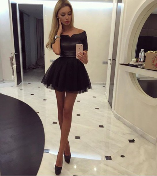 Short Black Prom Dress Gown Short Sleeves f31f1675d05c