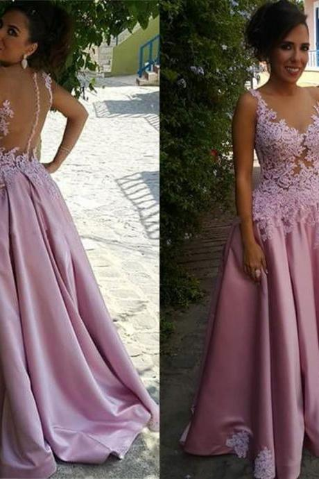 Baby Pink Prom Dress Gown Illusion Back Cheap,Evening Dress,Formal Dress,Cocktail Dress,Party Dress,Graduation Dress