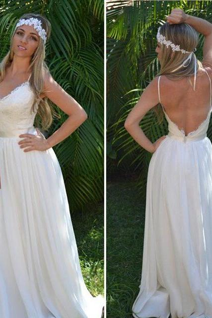 Beach Wedding Dress,Boho Wedding Dress,Bohemian Wedding Dress,Ivory Wedding Dress