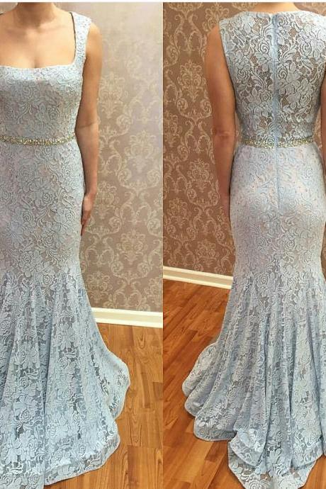 Lace Prom Dress Gown Mermaid Long Cheap,Light Blue Prom Dress,Evening Dress,Formal Dress,Cocktail Dress,Party Dress,Graduation Dress