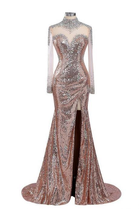 Mermaid Long Champagne Sequins Prom Dress Gown Long Sleeves,Elegant Evening Dress,Formal Dress,Cocktail Dress,Party Dress,Graduation Dress