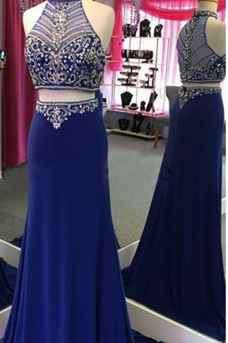 Two Piece Prom Dress Gown Long Royal Blue 2017, Maxi Dress, Beaded Prom Dress,Evening Dress,Formal Dress,Cocktail Dress,Party Dress,Graduation Dress