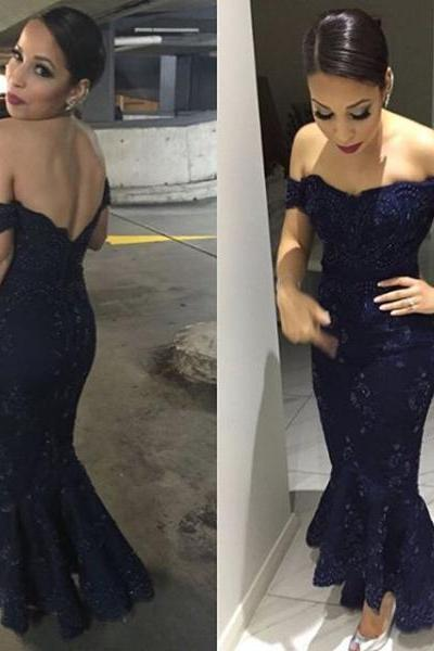 Long Mermaid Navy Prom Dress Gown Off Shoulder 2017, Lace Prom Dress, Elegant Evening Dress,Formal Dress,Cocktail Dress,Party Dress,Graduation Dress