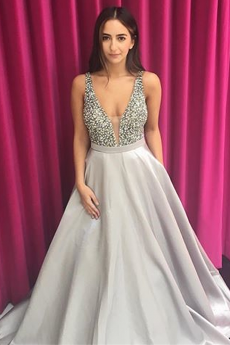 Silver Prom Gown Dress Beaded 2017, Long Prom Dress, Evening Dress,Formal Dress,Cocktail Dress,Party Dress,Graduation Dress