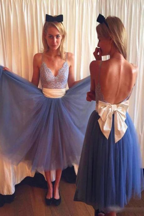 Prom Dress Gown Tea Length with Spaghetti Straps 2017,Prom Dress Blue,Backless Prom Dress,Homecoming Dress,Evening Dress,Formal Dress,Cocktail Dress,Party Dress,Graduation Dress Junior prom dress