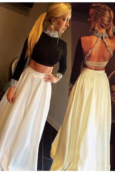 Two Piece Black and White Prom Dress Gown Long Sleeves 2017,Prom Dress Cheap,Evening Dress,Formal Dress,Cocktail Dress,Party Dress,Graduation Dress