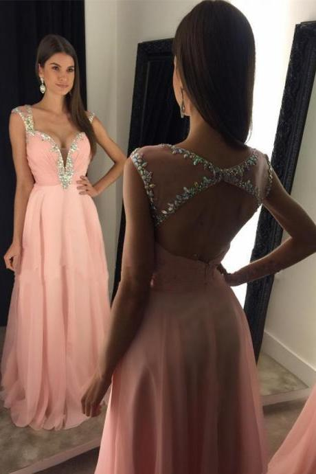 Long Chiffon Pink Prom Dress 2017 Open Back,Cheap Prom Gown,Pink Evening Dress,Cocktail Party Dress,Formal Dress