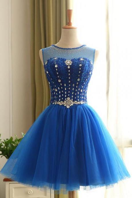 Short Homecoming Dress Royal Blue,Beaded Prom Dress, Prom Dress Short, Prom Gown,Junior Prom Dress,Evening Dress Short,Cocktail Party Dress,Formal Dress