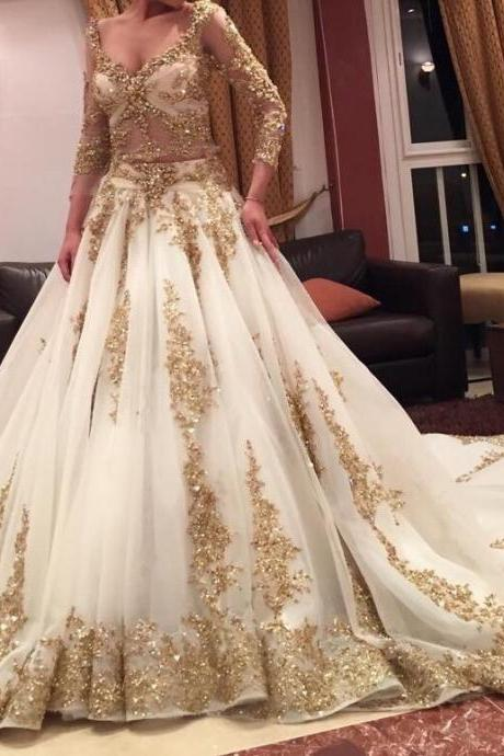 Arabic Wedding Dress Long Sleeves 2017,Ivory Wedding Dress with Gold Appliques,Bridal Dresses Gowns, Wedding Gown Custom Cheap