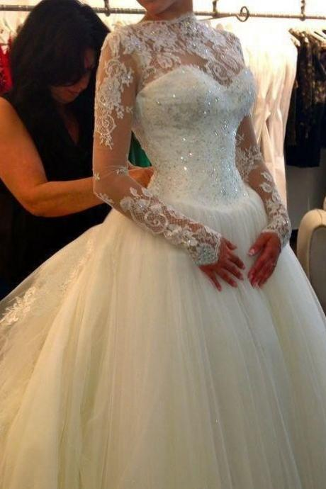 Gorgoues Wedding Dress Long Sleeves,Tulle Wedding Dress,Garden Wedding Dress, Bridal Dresses Gowns, Wedding Gown Custom Cheap