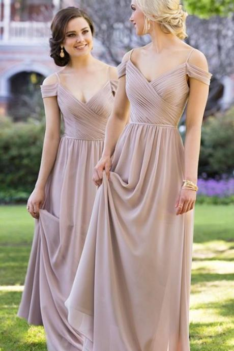Long Champagne Bridesmaid Dresses Cheap,Bridesmaid Gowns, Maid of Honor Dress,Wedding Party Dresses, Formal Evening Dress, Prom Dresses