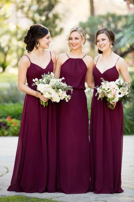 Purple Bridesmaid Dresses Long,Bridesmaid Gowns Cheap, Maid of Honor Dress,Wedding Party Dresses, Formal Evening Dress, Prom Dresses