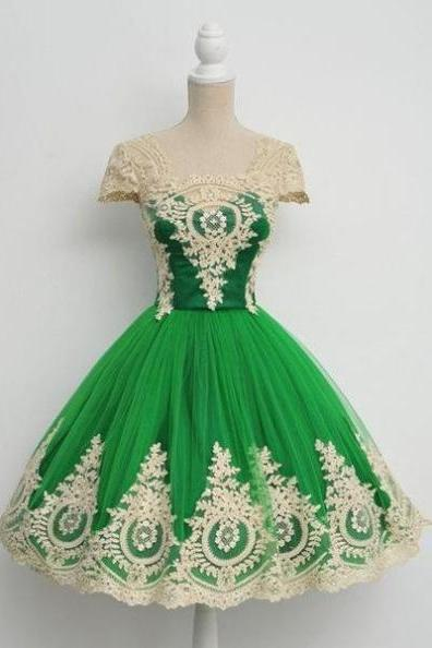 Homecoming Dress,Ball Gown,Green Prom Dress with Champagne Appliques,Prom Dress Short,Homecoming Gown,Tulle Prom Dress,Cheap Prom Dress,Prom Dress Cap Sleeves,Prom Gown,Junior Prom Dress,Senior Prom Dress,Evening Dress,Cocktail Party Dress,Formal Dress,Celebrity Dress