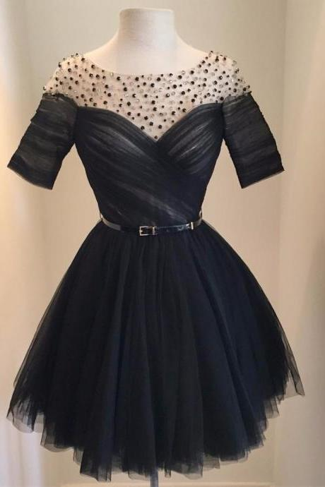 Homecoming Dress Black,Ball Gown,Black Prom Dress,Prom Dress Short Sleeves,Little Black Dress,Homecoming Gown,Tulle Prom Dress,Cheap Prom Dress,Prom Gown,Junior Prom Dress,Senior Prom Dress,Evening Dress,Cocktail Party Dress,Formal Dress,Celebrity Dress