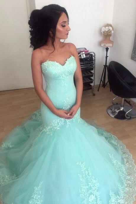 Aqua Sweetheart Mermaid Prom Dresses with Appliques Formal Evening Gown Junior Senior Cheap Party Dress Quinceanera Dress Custom Plus size 2018