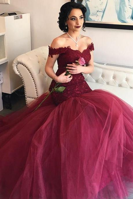 Mermaid Tulle Prom Dresses Long with Appliques Burgundy Formal Evening Gown Junior Senior Cheap Party Dress Quinceanera Dress Wine Red Custom Plus size 2018