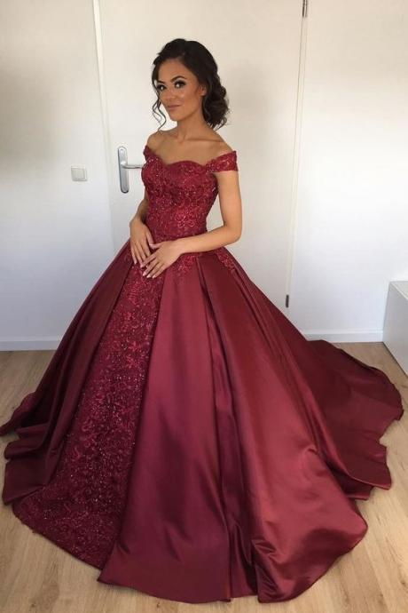 A line Princess Satin Lace Prom Dresses Long Ball Gown Burgundy Formal Evening Gown Junior Senior Cheap Party Dress Quinceanera Dress Wine Red Custom Plus size 2018