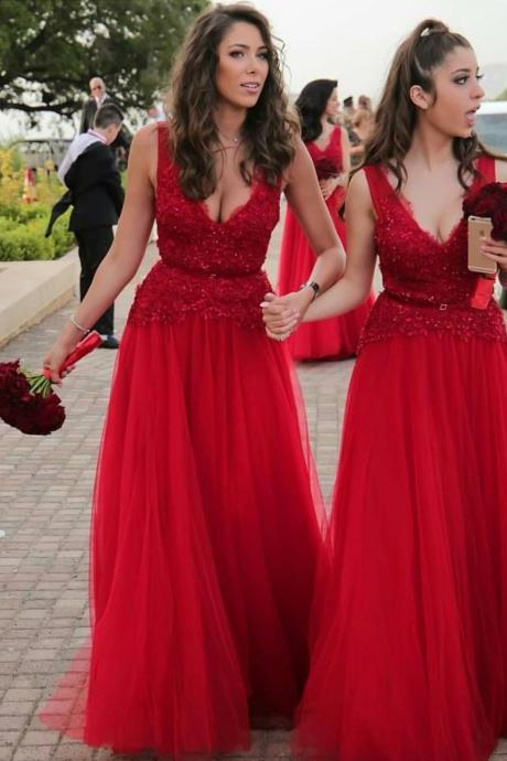 A line V neck Tulle Lace Red Prom Dresses Long Formal Evening Gown Junior Senior Cheap Party Dress Bridesmaid Dresses Custom Plus size 2018