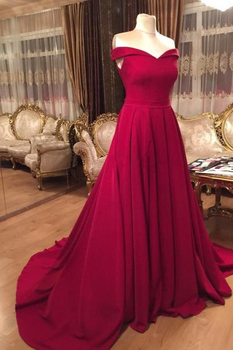 Long Dark Red Prom Dresses with Train Formal Evening Gown Off the Shoulder Junior Senior Cheap Party Dress Custom Plus size 2018
