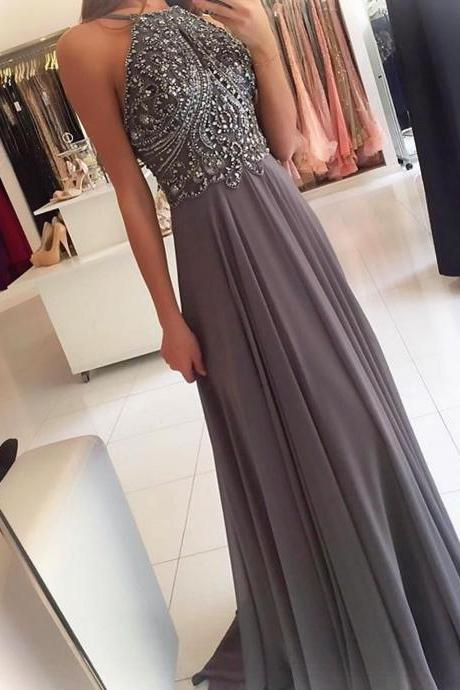 Long Backless Beaded Silver Prom Dresses with Spaghetti Straps Formal Evening Gown Junior Senior Cheap Party Dress Custom Plus size 2018