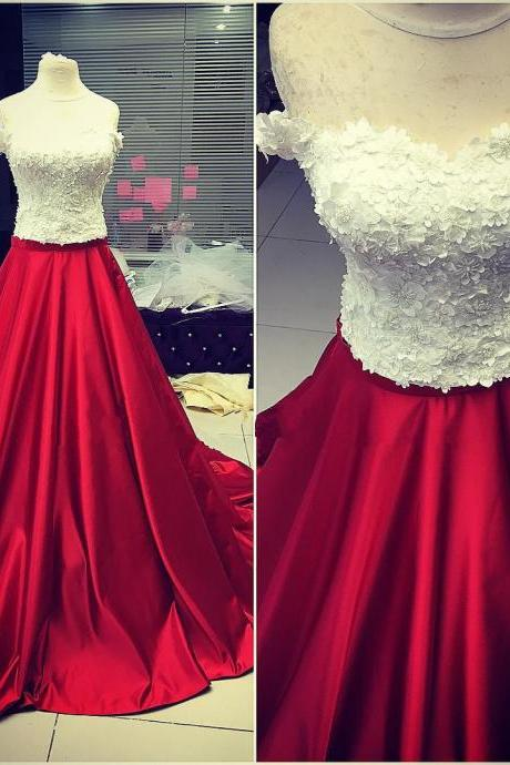 White and Dark Red Prom Dresses with Appliques Long A line Formal Evening Gown Off the Shoulder Junior Senior Cheap Party Dress Custom Plus size 2018