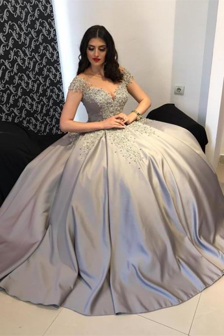 A line Princess V neck Silver Prom Dresses Long with Cap Sleeves Formal Evening Gown Junior Senior Cheap Party Dress Custom Plus size 2018