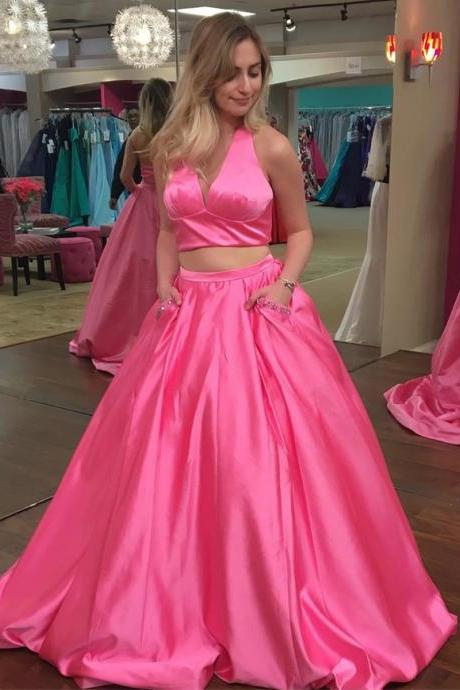 Simple 2 Two Piece Halter V neck Hot Pink Prom Dresses Long Formal Evening Ball Gown Gown Cheap Party Dress Sexy Custom Plus size 2018