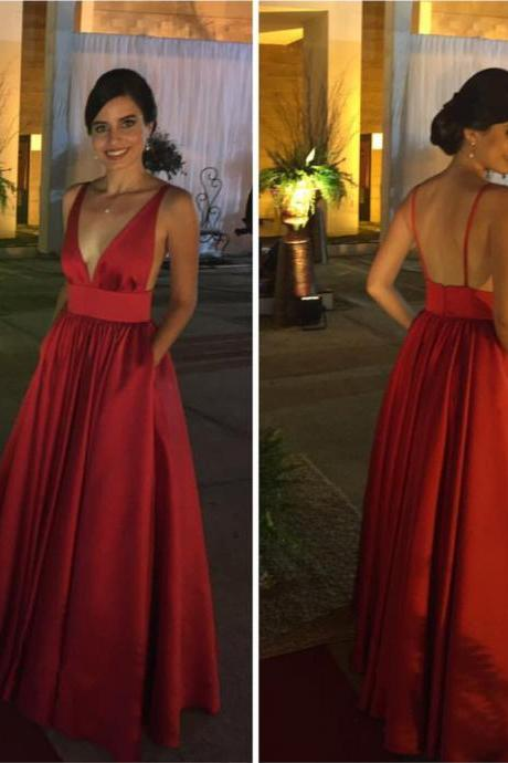 Satin V neck Red Prom Dresses Long with Spaghetti Straps Formal Evening Ball Gown Gown Cheap Party Dress Sexy Custom Plus size 2018