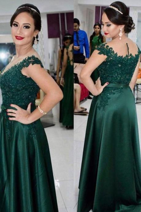 Women's Dark Green Lace Satin Prom Dresses Long Elegant Formal Evening Gown Cheap Party Dress Custom Plus size 2018