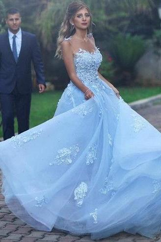 A line Princess Tulle Lace Light Blue Prom Dresses with Illusion Back Elegant Formal Evening Gown Cheap Junior Senior Party Dress Custom Plus size 2018