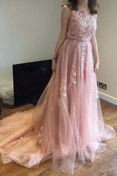 A line Open Back Tulle Blush Pink Prom Dresses with Appliques Long Elegant Formal Evening Gown Cheap Junior Senior Party Dress Custom Plus size 2018