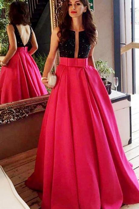 Women's A line Black and Fuchsia Long Prom Dresses Open Back Elegant Formal Evening Gown Cheap Junior Senior Party Dress Custom Plus size 2018