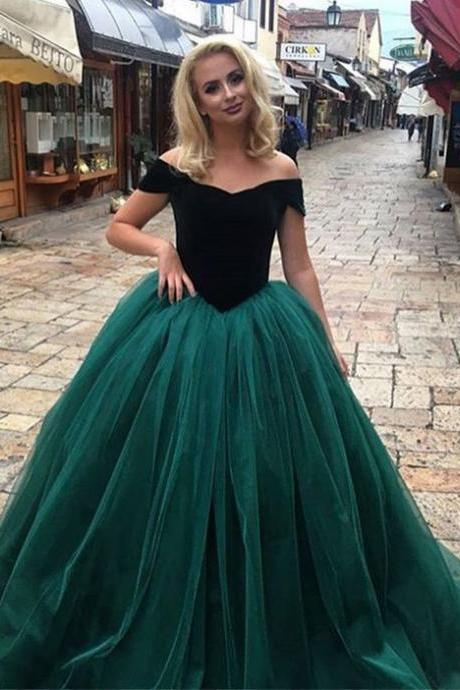 Ball Gown A line Dark Green Tulle Prom Dresses off the Shoulder Elegant Formal Evening Gown Cheap Junior Senior Party Dress Custom Plus size 2018