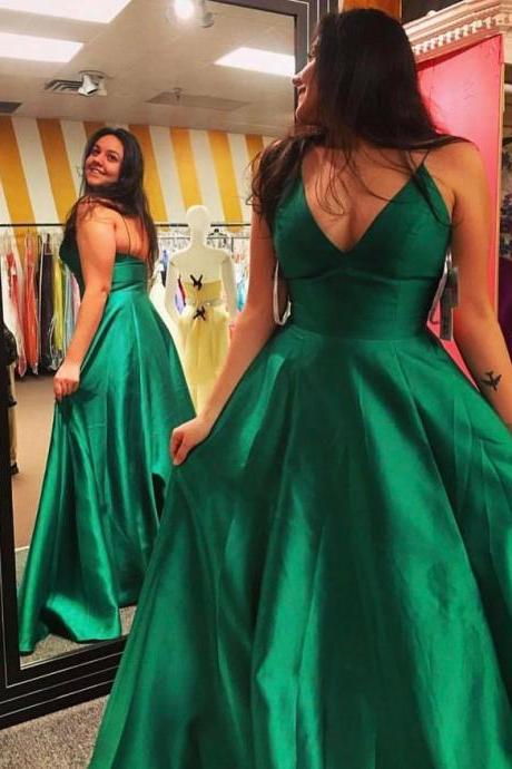 Women's Simple Cheap V neck Satin Green Prom Dresses with Spaghetti Straps Sexy Elegant Formal Evening Gown Cheap Junior Senior Party Dress Custom Plus size 2018