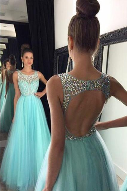 A Line Sparkle Tulle Aqua Prom Dresses with Open Back Sexy Elegant Formal Evening Gown Cheap Junior Senior Party Dress Custom Plus size 2018
