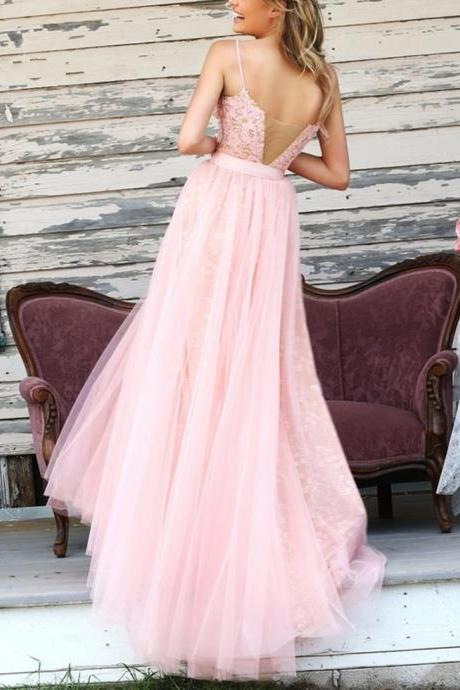 Pink Tulle Lace Long Prom Dresses with Spaghetti Straps Sexy Elegant Formal Evening Gown Cheap Junior Senior Party Dress Custom Plus size 2018