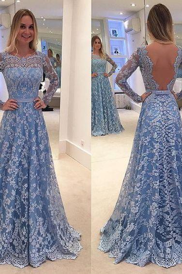 Women's Blue Lace Prom Dresses Long Sleeves with Illusion Back Elegant Formal Evening Gown Cheap Party Dress Custom Plus size 2018