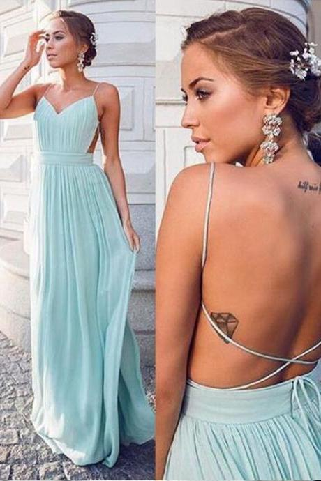 Simple Cheap Chiffon Long Mint Prom Dresses with Spaghetti Straps Sexy Backless Formal Evening Gown Maxi Dress Party Dress Custom Plus size 2018