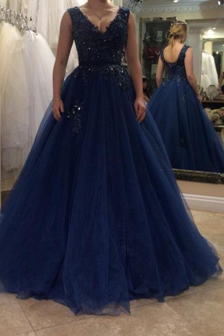Women's A line V neck Tulle Lace Navy Blue Prom Dresses Long Elegant Formal Evening Gown Cheap Party Dress Custom Plus size 2018