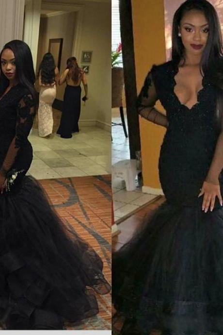 Women's Black Tulle Lace Mermaid Prom Dresses with Long Sleeves Elegant Formal Evening Gown Cheap V neck Party Dress Custom Plus size 2018