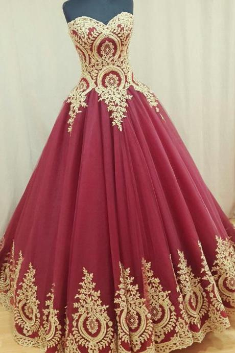 A line Sweetheart Tulle Red Prom Dresses Long with Gold Appliques Elegant Formal Evening Gown Cheap Party Dress Quinceanera Dress Custom Plus size 2018