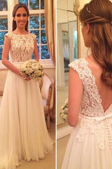 Women's Ivory Tulle Lace Prom Dresses Open Back Long Beach Wedding Dress Elegant Formal Evening Gown Cheap Party Dress Custom Plus size 2018