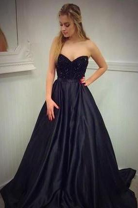 A line Sweetheart Beaded Black Prom Dresses Long Elegant Formal Evening Gown Cheap Party Dress Junior Senior Custom Plus size 2018