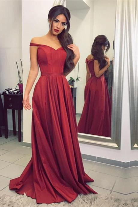 Women's Satin Burgundy Prom Dresses Long Off Shoulder Elegant Formal Evening Gown Cheap Party Dress Junior Senior Custom Plus size