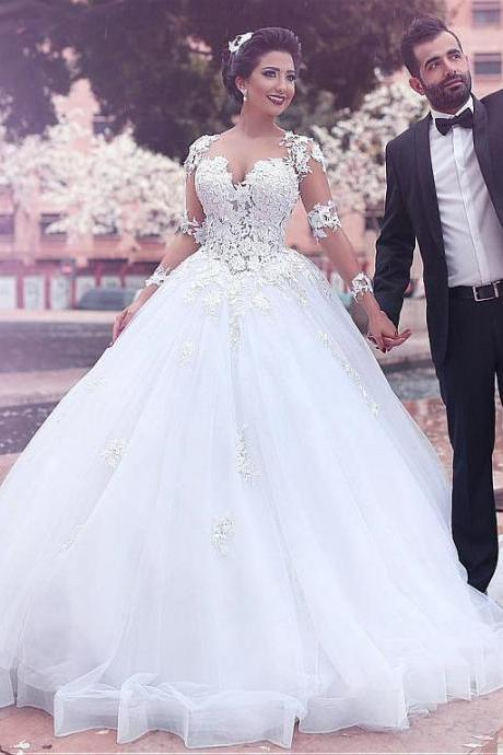 A line Princess Tulle Lace Wedding Dresses with Long Sleeves Wedding Gown Bridal Dress Illusion Back Cheap Custom Plus Size 2018