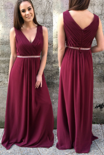 Women's V neck Chiffon Burgundy Prom Dresses Long Elegant Formal Evening Gown Cheap Party Dress Junior Senior Custom Plus size
