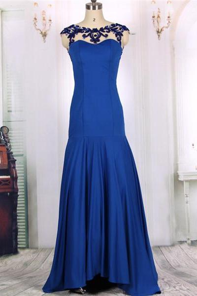 2016 New Arrival Cheap Sexy Backless Beaded Royal Blue Silk Long Mermaid Prom Dresses Gowns, Formal Evening Dresses Gowns, Homecoming Graduation Party Dresses Custom Plus size