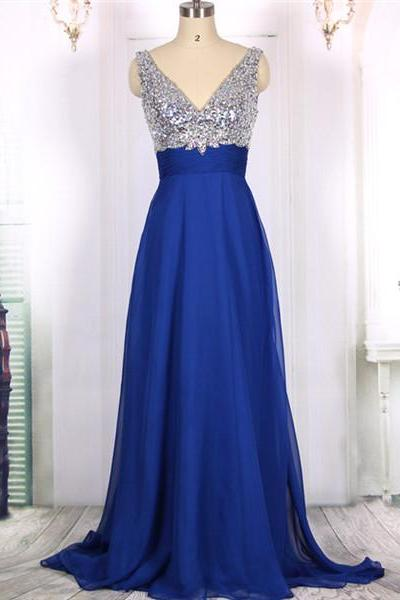 2016 New Cheap V neck Sexy Open Back Sequins Royal Blue Chiffon Long Prom Dresses Gowns, Formal Evening Dresses Gowns, Homecoming Graduation Party Dresses Custom Plus size