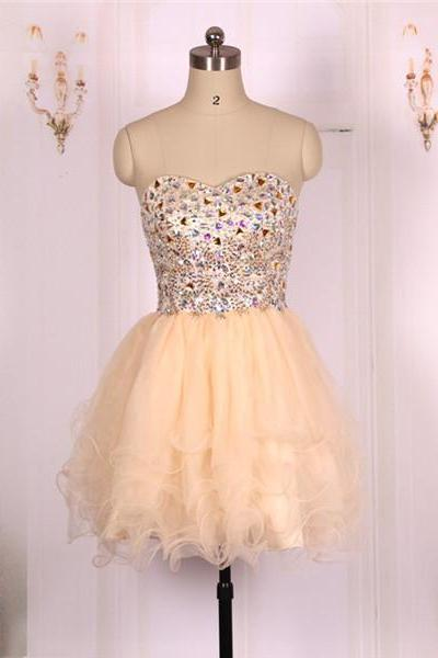 2016 New Cheap Ball Gown Sweetheart Beaded Champagne Tulle Short Prom Dresses Gowns, Formal Evening Dresses Gowns, Homecoming Graduation Cocktail Party Dresses,Custom Plus size